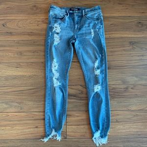 Express Mid Rise Ankle Legging Distressed Jeans